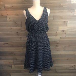WHBM Black polka Dotted Dress Size 8